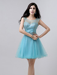 cheap -A-Line Beautiful Back Sparkle Homecoming Cocktail Party Dress Illusion Neck Sleeveless Short / Mini Tulle with Crystals Beading 2021