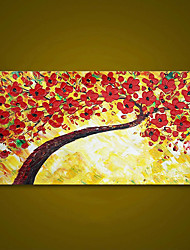 cheap -Unframed Panel Red Flower Tree Palette Knife Painting Wall Art Canvas Hand Painted Oil Painting Unique Gift For Home Decoration Rolled Without Frame
