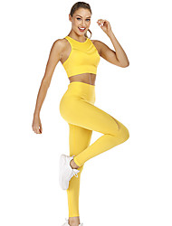 povoljno -Žene 2pcs Trenirka Joga odijelo Prekriženo na leđima Moda Crn Bijela Plava Najlon Yoga Fitness Trening u teretani Sportski grudnjaci Obrezane tajice Sportska odijela Sport Odjeća za rekreaciju