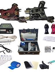 preiswerte -komplettes Tattoo Kit 2pcs Spule Tattoo Maschine Tattoo Gunspower Versorgung 25 Nadeln Tipps Griffe Reisekoffer Tattoo Zubehör für Tätowierer