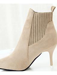 povoljno -Žene Čizme Stiletto potpetica Krakova Toe Ležerne prilike Osnovni Dnevno Jednobojni Brušena koža PU Čizme gležnjače / do gležnja Hodanje Crn / Bež