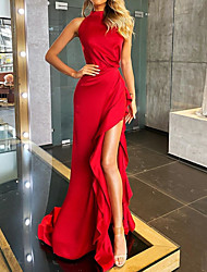 cheap -Sheath / Column Minimalist Sexy Wedding Guest Formal Evening Dress High Neck Sleeveless Court Train Stretch Satin with Ruffles Split 2021