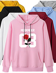cheap -Women's Hoodie Pullover Artistic Style Hoodie Flower Letter & Number Sport Athleisure Hoodie Top Long Sleeve Warm Soft Oversized Comfortable Everyday Use Exercising General Use / Winter