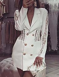 cheap -Women's A Line Dress Short Mini Dress White Long Sleeve Solid Color Lace Button Front Summer V Neck Casual 2021 S M L XL
