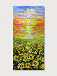 cheap -Hand Painted Canvas Oilpainting Abstract Landscape Sunflowers Home Decoration with Frame Painting Ready to Hang With Stretched Frame