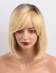 cheap -Human Hair Wig Medium Length Natural Straight European Bob Side Part Blonde Women Natural Medium Size Capless Indian Hair Women's Blonde 12 inch / Ombre Hair