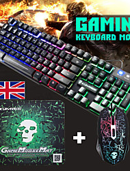 cheap -T6 USB Wired Mouse Keyboard Combo Gaming with Mouse Pad Spill-Resistant Gaming Keyboard / Multimedia Keyboard Gaming Luminous Waterproof Gaming Mouse Office Mouse 2400 Dpi