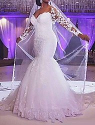 cheap -Mermaid / Trumpet Wedding Dresses V Neck Floor Length Lace Tulle Long Sleeve Formal with Appliques 2020