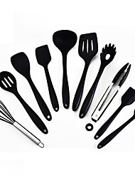 cheap -Silicone Kitchenware 10 Piece Set High Temperature Resistant Silicone Kitchenware Non Stick Pot Cooking Spatula Spoon Set All In One Kitchenware