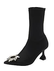 Недорогие -Жен. Ботинки Балетки Заостренный носок На каждый день Классический Повседневные Стразы Однотонный Полиуретан Сапоги до середины икры Для прогулок Черный