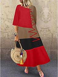 cheap -Women's Swing Dress Maxi long Dress - Half Sleeve Color Block Patchwork Summer Casual Hot Cotton 2020 White Red Khaki Gray M L XL XXL 3XL 4XL 5XL