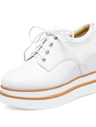 cheap -Women's Loafers & Slip-Ons Platform Wedge Heel Round Toe Casual Daily Walking Shoes PU Rivet Solid Colored Almond White Black