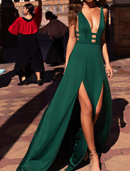 cheap -A-Line Beautiful Back Sexy Party Wear Formal Evening Dress V Neck Sleeveless Sweep / Brush Train Spandex with Sleek Split 2021