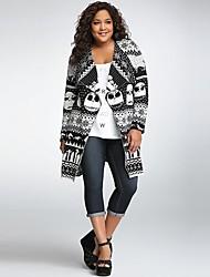 cheap -Women's Basic Knitted Animal Cardigan Long Sleeve Sweater Cardigans Shirt Collar Fall Winter White Orange Gray