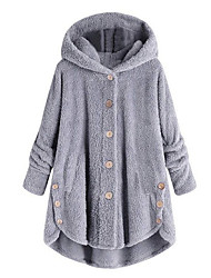 cheap -Women's Coat Street Causal Daily Fall Winter Spring Long Coat Loose Basic Chic & Modern Casual Jacket Long Sleeve Solid Colored Loose Fit Brown coffee Yellow Blushing Pink / Holiday / Cotton