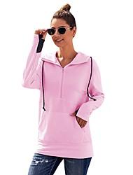 halpa -Naisten Pullover-huppari Color Block Yhtenäinen Perus Hupparit paidat Valkoinen Punastuvan vaaleanpunainen Vaaleanharmaa
