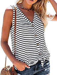 cheap -womens striped tank tops button down sleeveless tie front summer casual v neck tunic shirts & #40;2-stars, medium& #41;