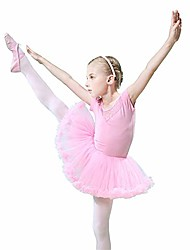 cheap -girls tutu dancing dress kids girls floral lace short sleeve soft cotton dance ballet dress gymnastics leotard with ruffle tutu skirt ballerina dance costumes & #40;color : pink, size : 110&
