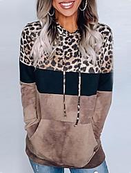 cheap -Women's Pullover Hoodie Sweatshirt Leopard Casual Basic Hoodies Sweatshirts  Brown