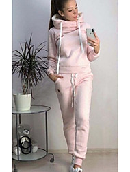 cheap -Women's Sweatsuit 2 Piece Set Loose Fit Drawstring Hoodie Solid Color Sport Athleisure Hoodie Outfits Long Sleeve Soft Comfortable Everyday Use Daily Casual / 2pcs / pack