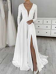 cheap -A-Line Wedding Dresses V Neck Sweep / Brush Train Satin Long Sleeve Simple with 2020
