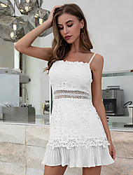 cheap -Women's Strap Dress Short Mini Dress - Sleeveless Solid Color Lace Backless Summer Square Neck Sexy Holiday Going out Slim 2020 White Black Blue Purple Red Beige S M L XL