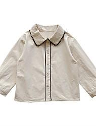 povoljno -Djeca Djevojčice Osnovni Crno-bijela Jednobojni Čipka Trim Dugih rukava Iznad koljena Haljina Crn