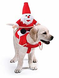 رخيصةأون -الكلب سانتر كلوز ركوب عيد الميلاد زي مضحك الحيوانات الأليفة كاوبوي رايدر الحصان تصميم الكلاب القطط الملابس الملابس حزب اللباس ملابس عيد الميلاد هالوين