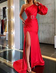 cheap -Sheath / Column Vintage Sexy Wedding Guest Formal Evening Dress One Shoulder Long Sleeve Sweep / Brush Train Satin with Sash / Ribbon Split 2021