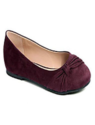 cheap -women shoes faux suede round toe ballet flats size 7.5 burgundy