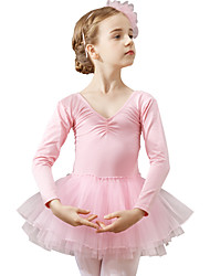 cheap -Ballet Leotard / Onesie Solid Girls' Training Performance Long Sleeve Natural Cotton