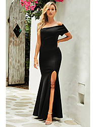 cheap -Women's Sheath Dress Maxi long Dress - Sleeveless Solid Color Patchwork Summer Strapless Sexy Party Club 2020 Black Blue Red S M L XL