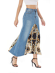 cheap -Women's Daily Wear Basic Skirts Geometric Patchwork Print Blue