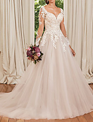 cheap -A-Line Wedding Dresses V Neck Chapel Train Lace Tulle Long Sleeve Formal with Appliques 2020