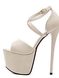 cheap -Women's Sandals Stiletto Heel Peep Toe Sexy Daily Solid Colored PU Almond / Black