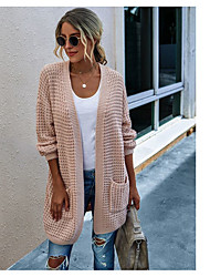 cheap -Women's Knitted Solid Colored Cardigan Acrylic Fibers Long Sleeve Loose Sweater Cardigans V Neck Fall Winter White Blue Blushing Pink