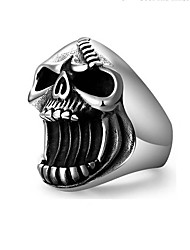 cheap -Halloween Party Halloween Skull Bottle Opener Skeleton Ghost Jewelry Skull Rings Punk Vintage Scar Jaw Stainless Steel Ring For Men Accessoires Beer Bottle Opener