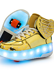 cheap -Boys' / Girls' Sneakers LED Shoes / USB Charging / Luminous Fiber Optic Shoes Leather / Synthetics Sequins Big Kids(7years +) Walking Shoes Buckle / LED / Luminous Pink / Gold / Dark Blue Fall
