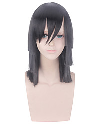cheap -Cosplay Costume Wig Cosplay Wig Iguro Obanai Demon Slayer Straight With Bangs Wig Medium Length Black Synthetic Hair 14 inch Women's Anime Cosplay Creative Black