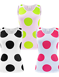 cheap -WOSAWE Women's Sleeveless Cycling Jersey Black Fuchsia Green Dot Bike Breathable Sports Dot Clothing Apparel