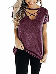 cheap -short sleeve tops for women juniors shirts criss cross v neck floral print front pleated round hem made well clothing relaxed fit casual blouse red l