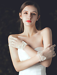 cheap -Net Wrist Length Glove Elegant / Gloves With Faux Pearl