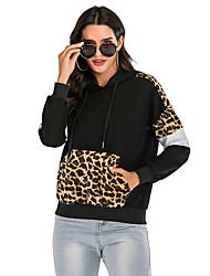 cheap -Women's Pullover Hoodie Sweatshirt Leopard Casual Hoodies Sweatshirts  Loose Black