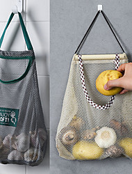 cheap -2Pcs kitchen Vegetable Onion Potato Storage Hanging Bag Hollow Breathable Mesh Bag Kitchen Garlic Ginger Mesh Storage Bag