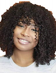 cheap -Human Hair Wig Short Afro Curly Kinky Curly Short Bob With Bangs Natural Women Sexy Lady New Capless Mongolian Hair Women's Natural Black #1B 10 inch