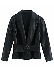 cheap -Women's Notch lapel collar Faux Leather Jacket Short Solid Colored Wear to work Basic Black XS S M L
