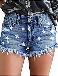 cheap -Women's Basic Daily Loose Denim Shorts Pants Patterned Cut Out Tassel Fringe Outdoor Blue Light Blue S M L