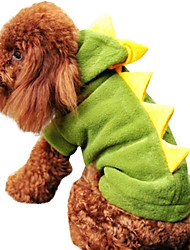 cheap -Dog Halloween Costumes Costume Hoodie Solid Colored Dinosaur Fun & Whimsical Cosplay Halloween Holiday Winter Dog Clothes Warm Red Green Costume Polyster XS S M L XL
