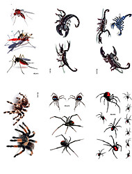 cheap -Halloween Party Toys Tattoo Stickers 20 pcs Skull Skeleton Spiders 3D Witch Waterproof Paper Kid's Adults Trick or Treat Halloween Party Favors Supplies
