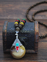cheap -Women's Pendant Necklace Beaded Necklace Drop Drop Friends Joy Lucky Luxury Vintage Trendy Ethnic Wooden Resin Alloy Brown 75 cm Necklace Jewelry 1pc For Party Evening Gift Masquerade Street Birthday